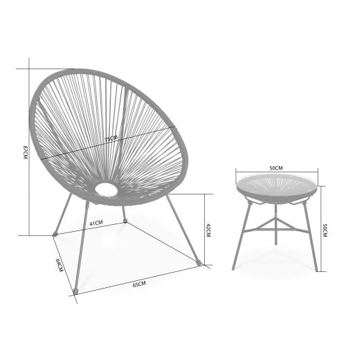 Acapulco set of two chairs and coffee table 2 Egg designer chairs with side table - Acapulco Black