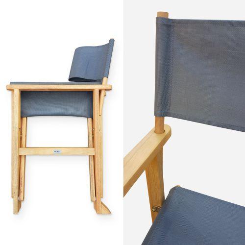 Banderas Lot de 2 fauteuils réalisateur pliables avec accoudoirs, BANDERAS, en eucalyptus FSC et textilène gris anthracite