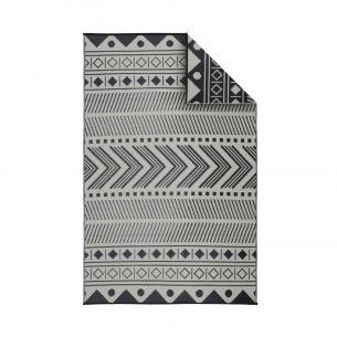 Bamako Tapis d'extérieur 180x270cm BAMAKO - Rectangulaire, motif ethnique noir / beige, jacquard, réversible, indoor / outdoor