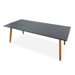 Belem Table de jardin en pierre composite 220cm piètement bois - BELEM - 8 personnes, aspect béton, pieds en acacia