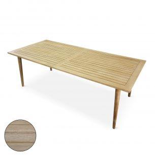 Rio Table de jardin rectangulaire 220cm, RIO, bois finition brossée blanchie, 8 personnes