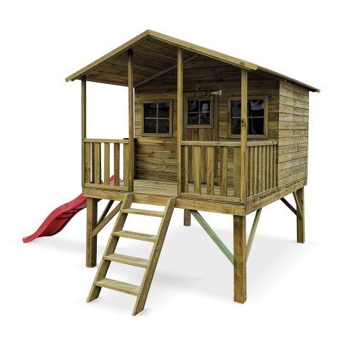 PIVOINE Maisonnette avec toboggan en bois FSC de 4,5m², Pivoine - cabane sur pilotis en pin autoclave, terrasse