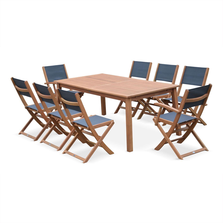 Table de jardin en bois extensible 180-240cm, 2 fauteuils ...