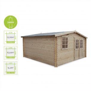 Boscodon Abri de jardin BOSCODON en bois FSC de 16,4m², structure en madriers 34mm, sapin séché