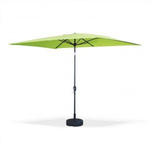 Touquet Couleur Parasol droit Touquet rectangulaire 2x3m Vert Pomme, mât central aluminium orientable et manivelle d'ouverture