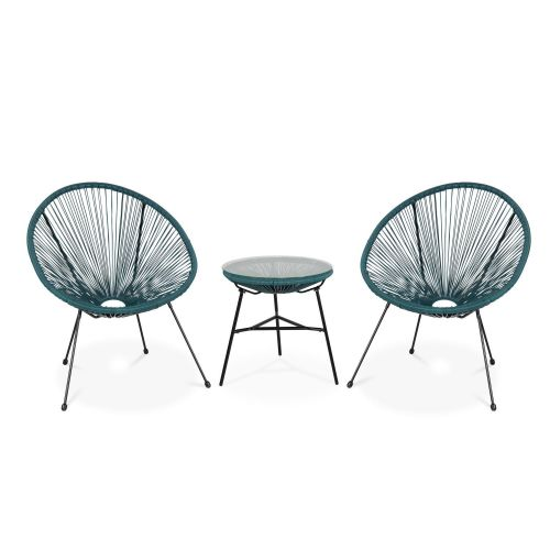 Acapulco set of two chairs and coffee table 2 Egg designer chairs with side table - Acapulco duck blue