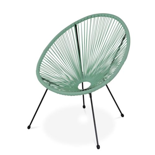 Acapulco set of two chairs and coffee table 2 Egg designer chairs with side table - Acapulco water green