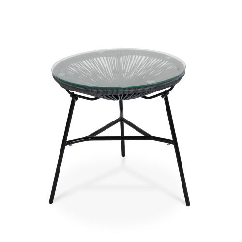 Acapulco set of two chairs and coffee table 2 Egg designer chairs with side table - Acapulco Grey