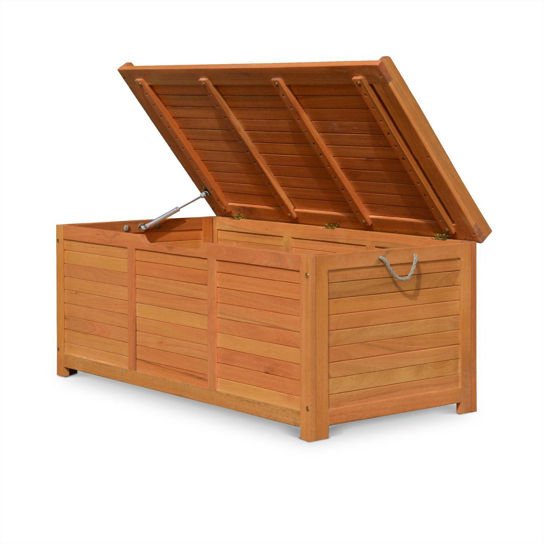 coffre de jardin en bois 125x60cm rangement coussins avec
