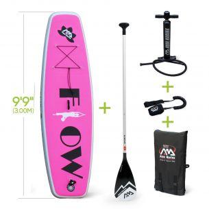 """Flow avec leash Pack stand up paddle gonflable Flow 9'9"""" épaisseur 15cm pompe haute pression, pagaie, leash et sac de rangement"""