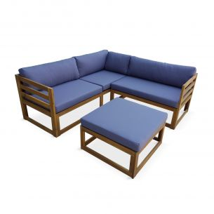 RAFAELA Salon de jardin d'angle en bois 5 places – Rafaela – Coussins gris, canapé d'angle et repose-pieds en acacia