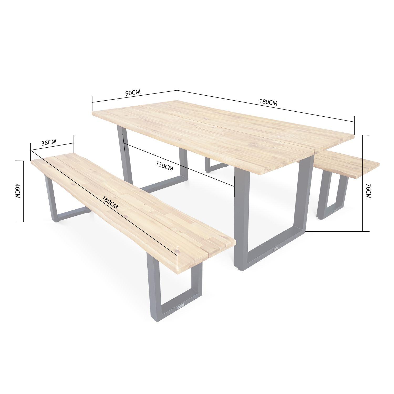 Table Repas 2 Personnes table de jardin en bois 180cm avec 2 bancs – salta – esprit