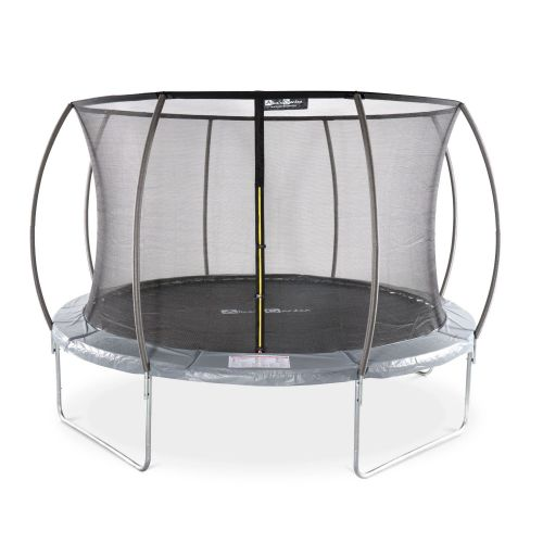 Round Trampoline O370cm 12ft Grey With Internal Safety Net Saturn Inner New Design Garden Trampoline With Curved Tubes 3 7m