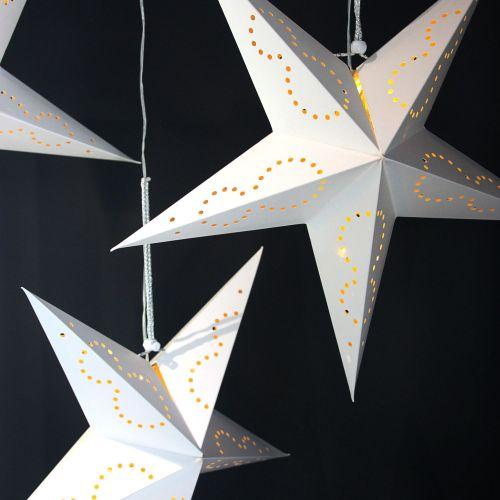 De Noël étoile 9 pointes Argent Ø 62 cm dekostern Papier Blanc