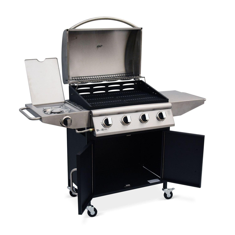 Enlever Rouille Sur Plancha En Fonte barbecue au gaz albert cuisine extérieure 4 brûleurs + feu