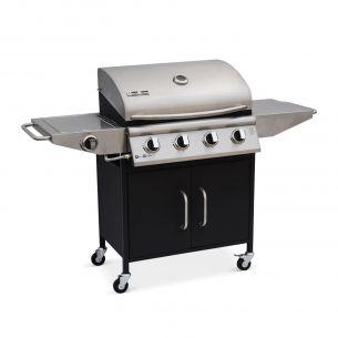 Albert Barbecue au gaz Albert cuisine extérieure 4 brûleurs + feu latéral avec thermomètre