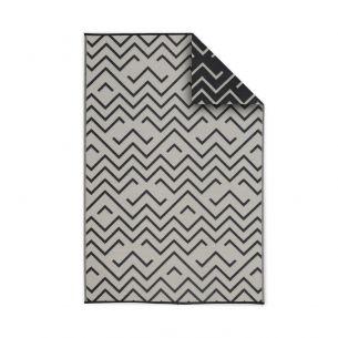 Sydney Tapis d'extérieur 180x270cm SYDNEY - Rectangulaire, motif vagues noir / beige