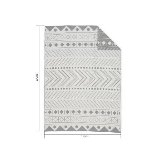 Bamako Tapis d'extérieur 270x360cm BAMAKO- Rectangulaire, motif ethnique noir / beige