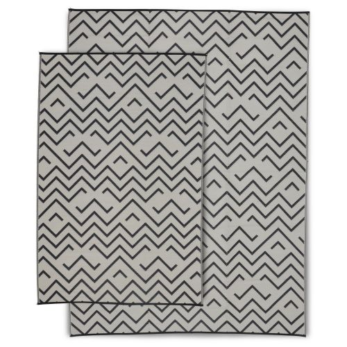 Sydney Tapis d'extérieur 270x360cm SYDNEY - Rectangulaire, motif vagues noir / beige