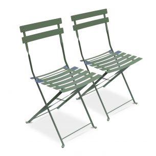 Chaises Emilia Pastel Lot de 2 chaises de jardin pliables - Emilia vert de gris - Acier thermolaqué