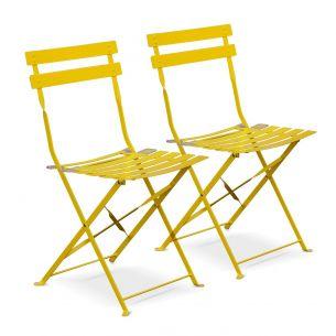 Chaises Emilia Pastel Lot de 2 chaises de jardin pliables - Emilia jaune - Acier thermolaqué