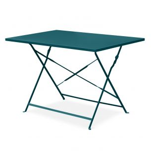 Emilia 110x70cm Couleur Table de jardin bistrot pliable - Emilia rectangle bleu canard- Table rectangle 110x70cm en acier thermolaqué