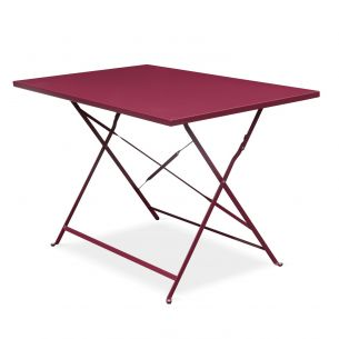 Emilia 110x70cm Pastel Table de jardin bistrot pliable - Emilia rectangle bordeaux- Table rectangle 110x70cm en acier thermolaqué