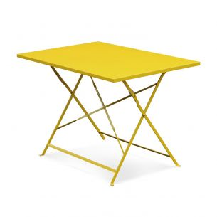 Emilia 110x70cm Pastel Table de jardin bistrot pliable - Emilia rectangle jaune- Table rectangle 110x70cm en acier thermolaqué