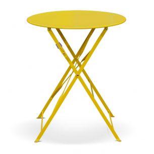 Emilia 60cm Pastel Table de jardin bistrot pliable - Emilia ronde jaune- Table ronde Ø60cm en acier thermolaqué