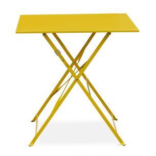 Emilia 70x70cm Pastel Table jardin bistrot pliable - Emilia carrée jaune- Table carrée 70x70cm en acier thermolaqué