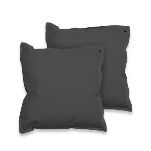 Lot de 2 coussins 50x50 Lot de 2 coussins carrés - 50x50 cm – Quartz (gris anthracite), coussins de décoration avec fixation à œillet