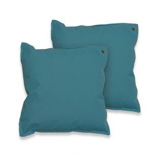 Lot de 2 coussins 50x50 Lot de 2 coussins carrés - 50x50 cm – Lake (bleu canard), coussins de décoration avec fixation à œillet
