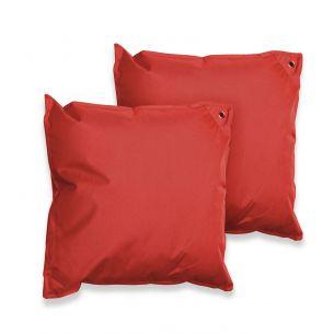 Lot de 2 coussins 50x50 Lot de 2 coussins carrés - 50x50 cm – Brik (rouge), coussins de décoration avec fixation à œillet