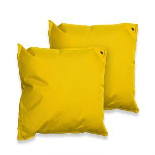 Lot de 2 coussins 50x50 Lot de 2 coussins carrés - 50x50cm - Sunny (jaune), avec fixation à oeillet et finition à volant