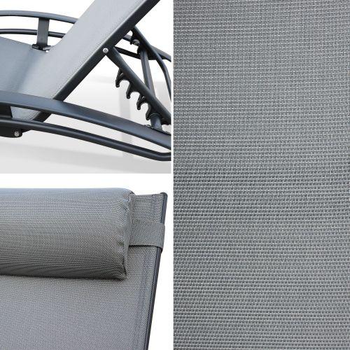 TOILE DE REMPLACEMENT POUR LOUISA Toile de remplacement pour bain de soleil LOUISA, en aluminium et textilène, avec têtière - Gris/Anthracite
