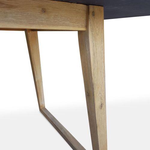 BORNEO Table de jardin en fibre de ciment 200cm, piètement bois en U - BORNEO - 6 personnes, pieds en acacia, plateau gris