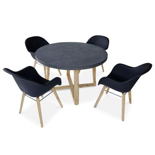 BORNEO Table de jardin ronde en fibre de ciment Ø120cm Borneo et 4 fauteuils scandinaves Célèbes anthracite