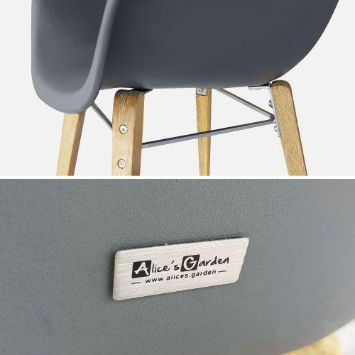 BORNEO Table de jardin ronde en fibre de ciment Ø120cm Borneo et 4 fauteuils scandinaves Célèbes gris