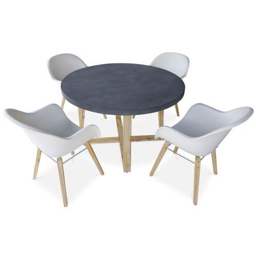 BORNEO Table de jardin ronde en fibre de ciment Ø120cm Borneo et 4 fauteuils scandinaves Célèbes blancs