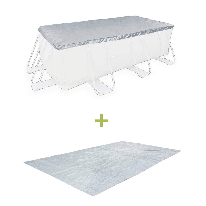 Kit piscine 9x9m : Bâche de protection + Tapis de sol