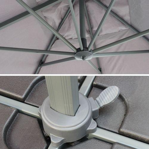 St Jean de Luz Parasol déporté rectangulaire St. Jean de Luz 3x4m excentré inclinable rotatif à 360° Gris