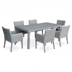 Ceppo Salon de jardin avec sa table en résine ronde fine 6 places, 1 table et 6 fauteuils