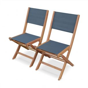 Almeria Set of 2 anthracite grey Almeria garden chairs in wood, 2 oiled FSC eucalyptus and textilene folding chairs
