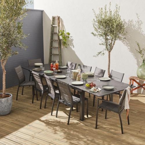 Set Da Pranzo Da Giardino Tavolo Alluminio Allungabile 10 Sedute 235 335 Cm