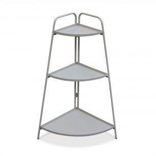 Alicia Étagère d'angle Alicia gris taupe, meuble de rangement pour intérieur et extérieur, 3 étages