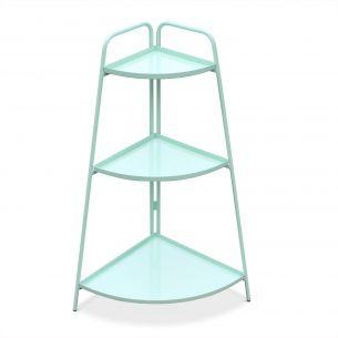 Alicia Étagère d'angle Alicia vert d'eau, meuble de rangement pour intérieur et extérieur, 3 étages