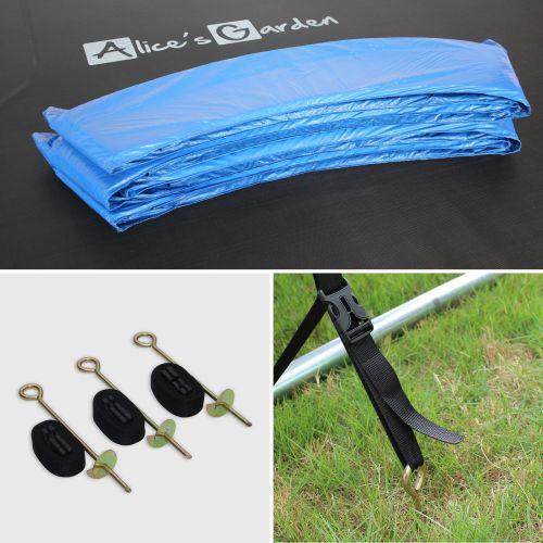 Pluton XXL Trampoline Ø250cm - Pluton XXL bleu avec filet, échelle, bâche, filet chaussures, kit d'ancrage 2,5m 2m
