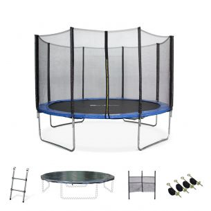 Saturne XXL 12ft Trampoline with Safety Net & Accessories Kit - Blue - PRO Quality EU Standards