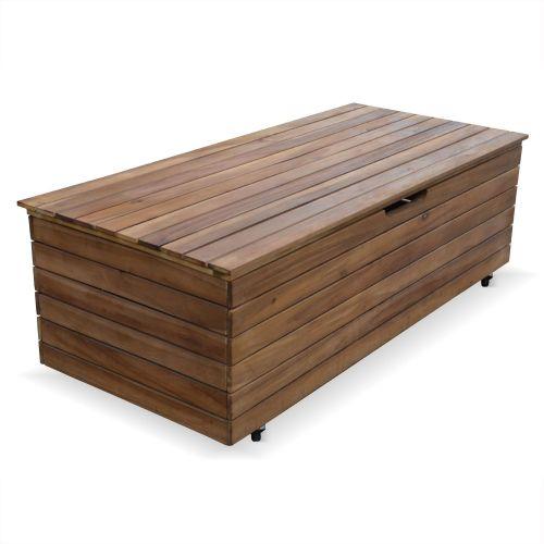 Saragosse Coffre de jardin en bois - Saragosse - 110L, rangement coussins 107x48,5cm avec vérins et roulettes