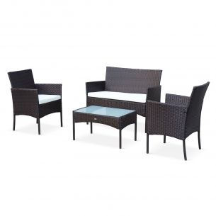 MOLTES Salon de jardin en résine tressée - Moltès - Chocolat, Coussins écrus - 4 places - 1 canapé, 2 fauteuils, une table basse